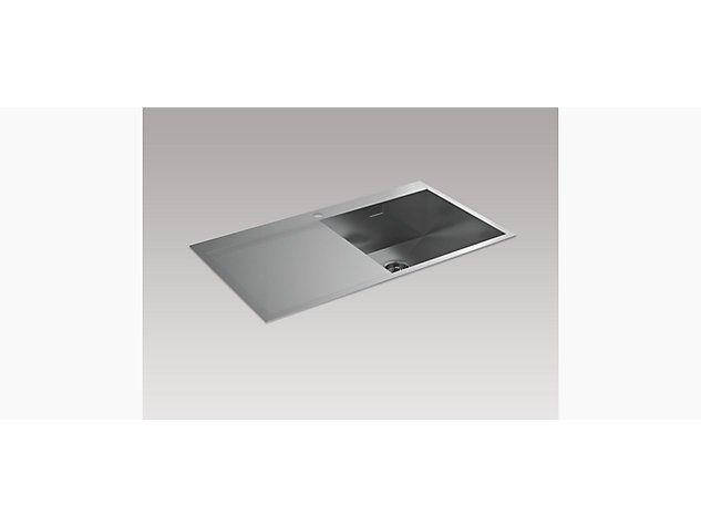 True 920mm Inset Sink with Draining Board, Left Hand
