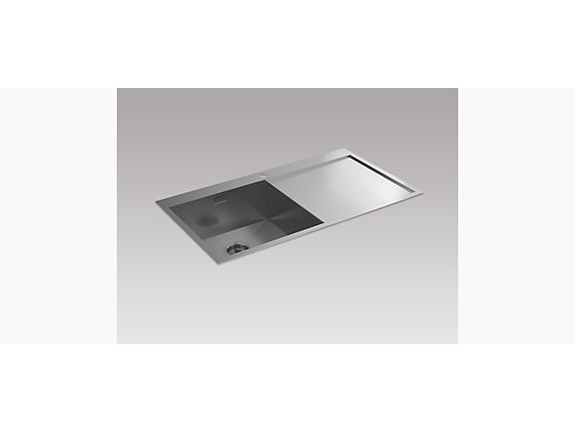 True 920mm Inset Sink with Draining Board, Right Hand