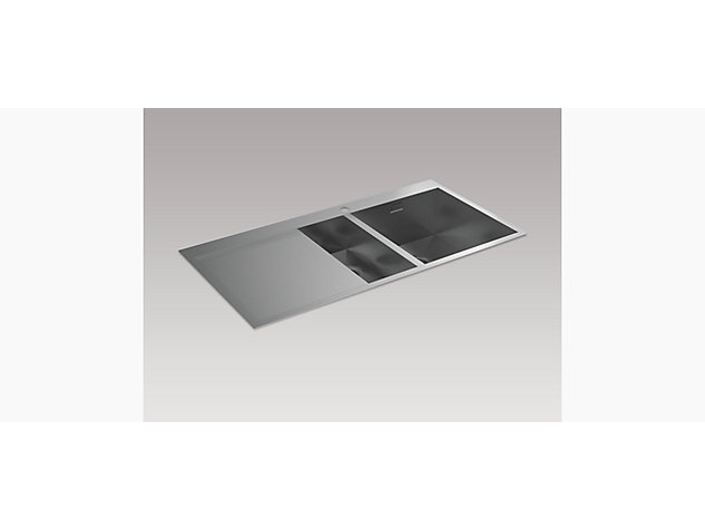 True 1000mm 1.5 Bowl Inset Sink with Draining Board, Left Hand