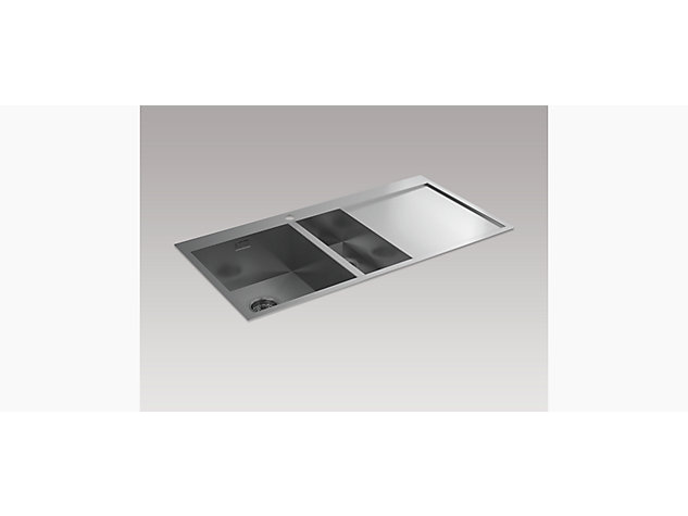 True 1000mm 1.5 Bowl Inset Sink with Draining Board, Right Hand
