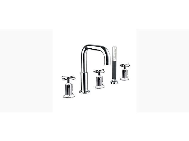 Purist 3-handle 5-hole deck-mount bath filler with handshower and diverter cross handle