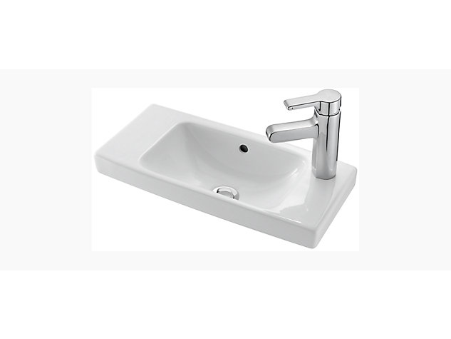 Reach 500mm Compact hand wash basin right hand tap deck