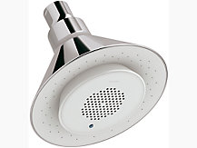 Moxie Shower head + White Wireless Speaker, 9.3 LPM without wall arm
