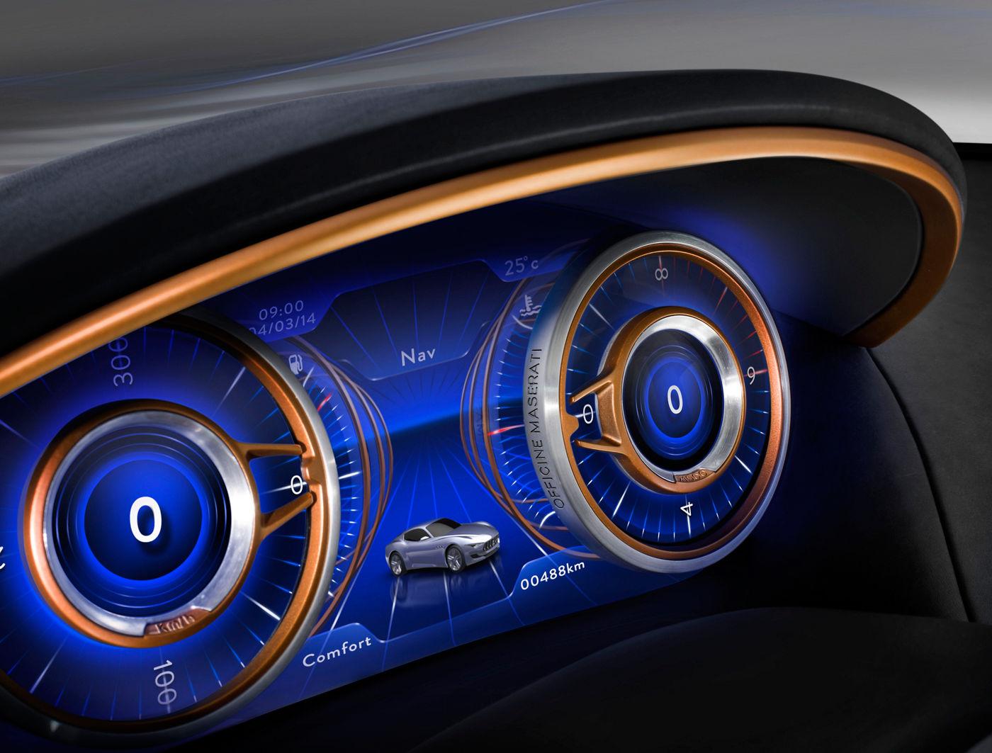 Maserati Alfieri Concept Car - Interni, dettaglio del cruscotto con navigatore