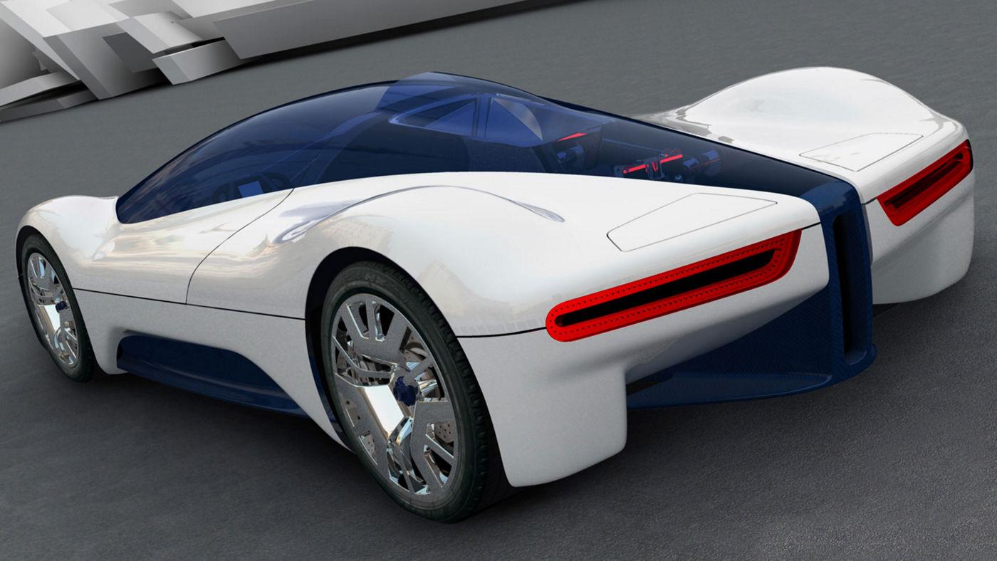 White Maserati Birdcage 75 - Back side view