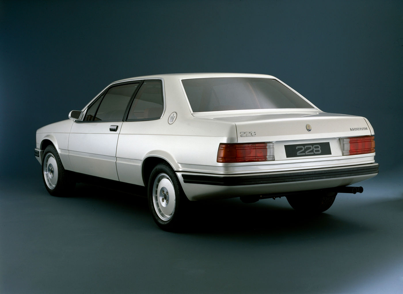 1987 Maserati 228 Biturbo - rear view of the classic car model in white