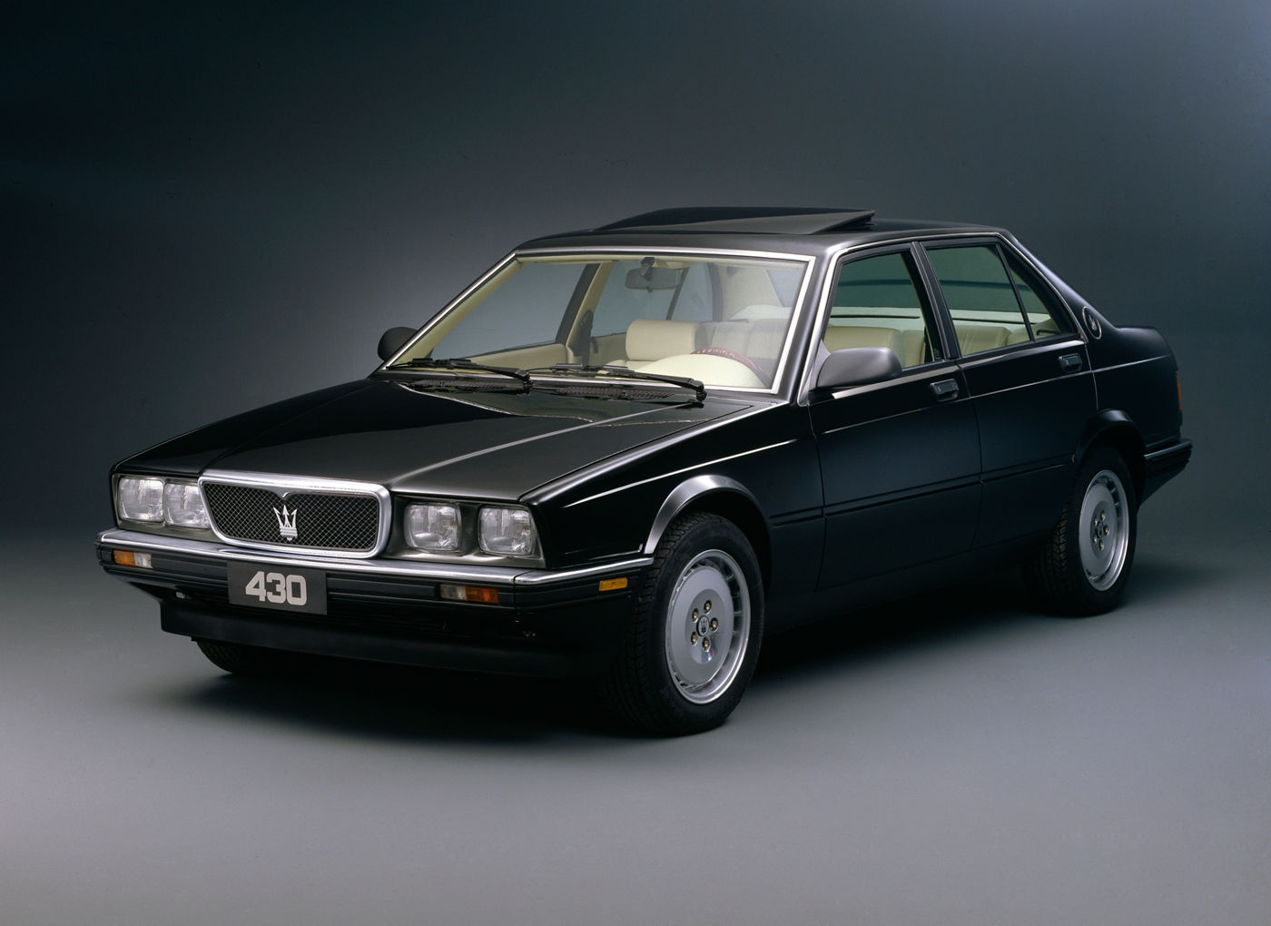 1987 Maserati 430 - exterior view of the classic car model in black