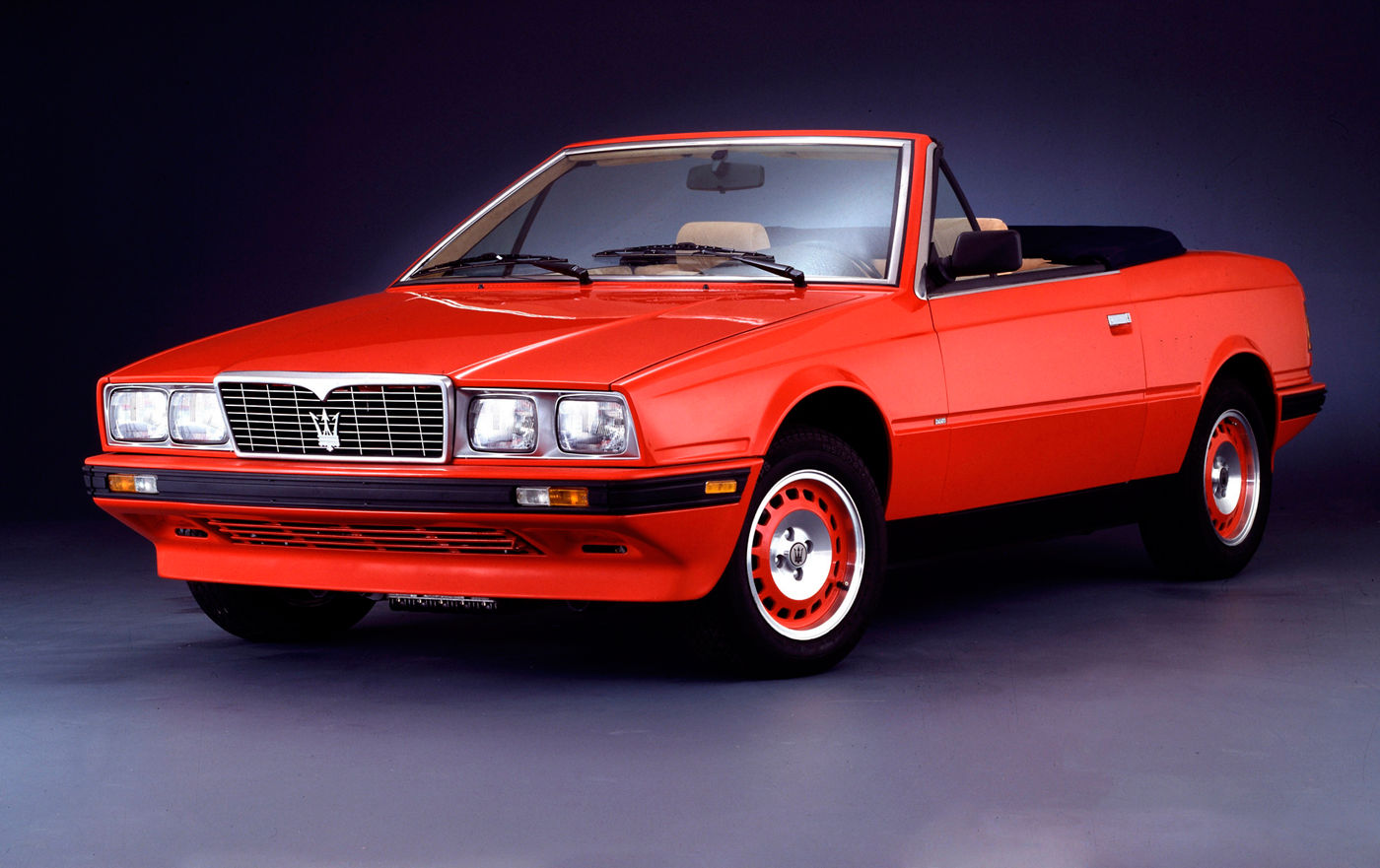1989 Maserati Biturbo Spyder - exterior view of the classic convertible in red