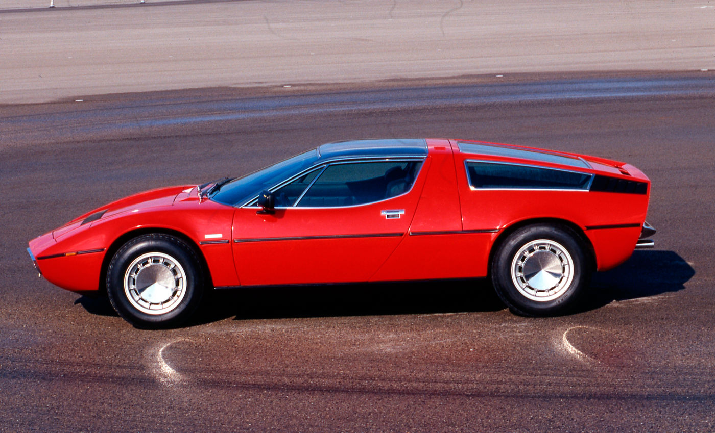 1971 Maserati Bora - side view of the classic car model in red