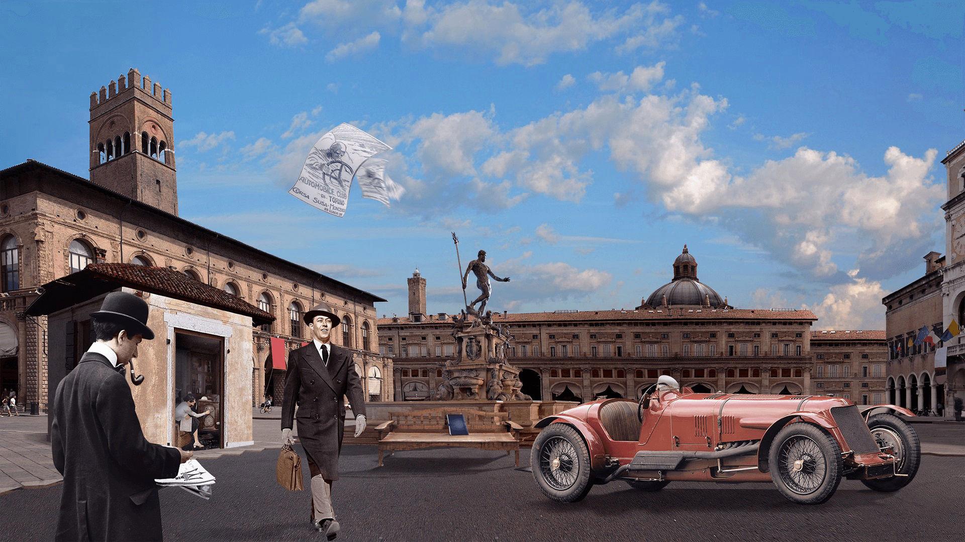 Storia di Maserati - 1920: prima auto Maserati Tipo 26 con logo del Tridente a Bologna