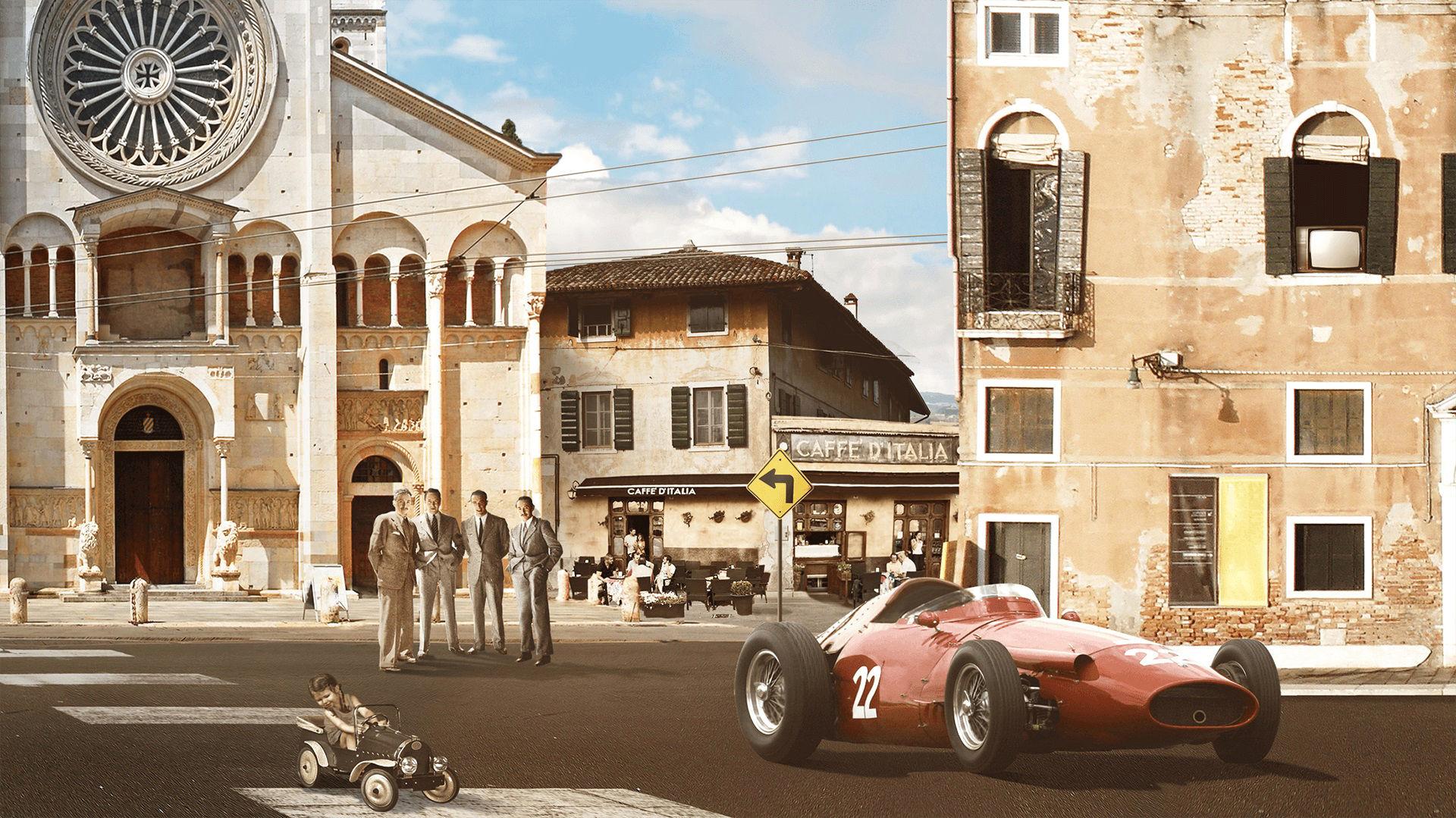 Storia di Maserati - 1950: Maserati 250 F in una città italiana