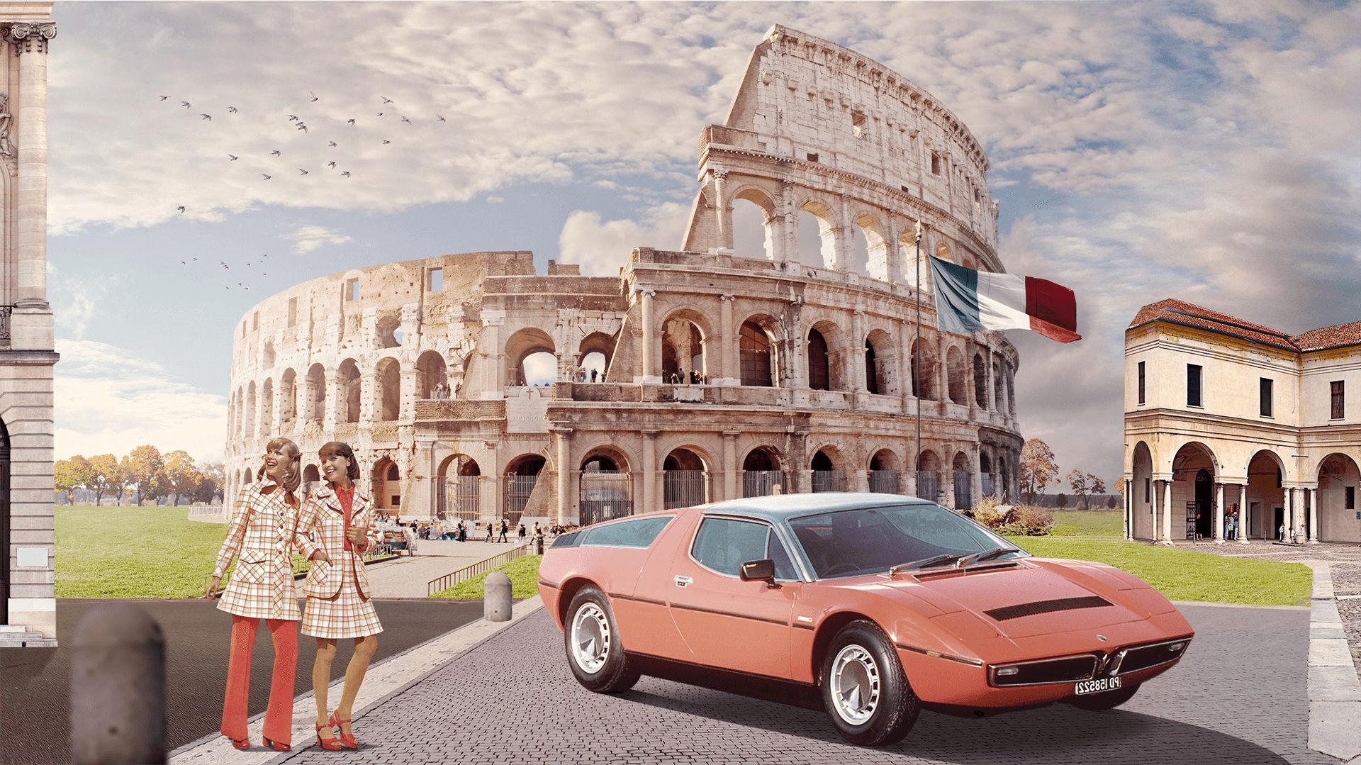 Storia di Maserati - 1970: Maserati Bora a Roma, davanti al Colosseo