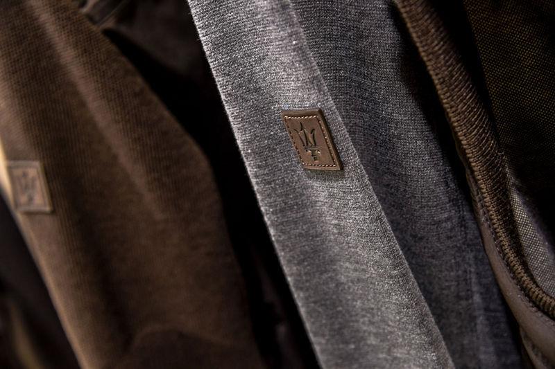 Ermenegildo Zegna as Maserati partner - Maserati logo detail on Zegna clothes