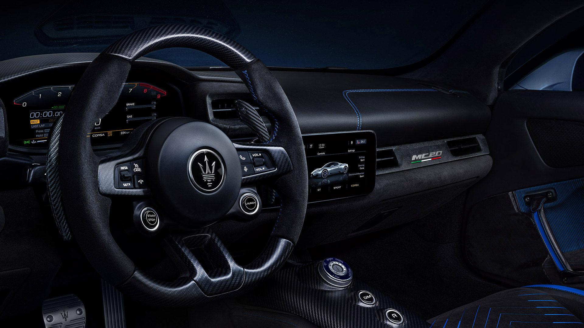 Maserati MC20 Armaturenbrett mit der Unterhaltungsplattform TIDAL