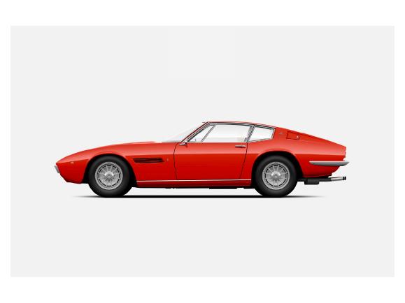 Maserati Ghibli SS Coupé d'epoca - disegno, vista laterale