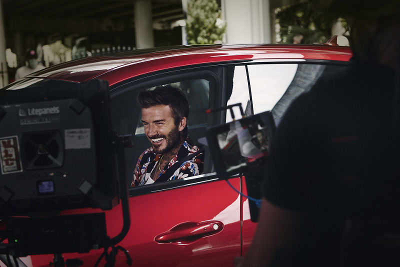 Maserati und David Beckham bei den Dreharbeiten
