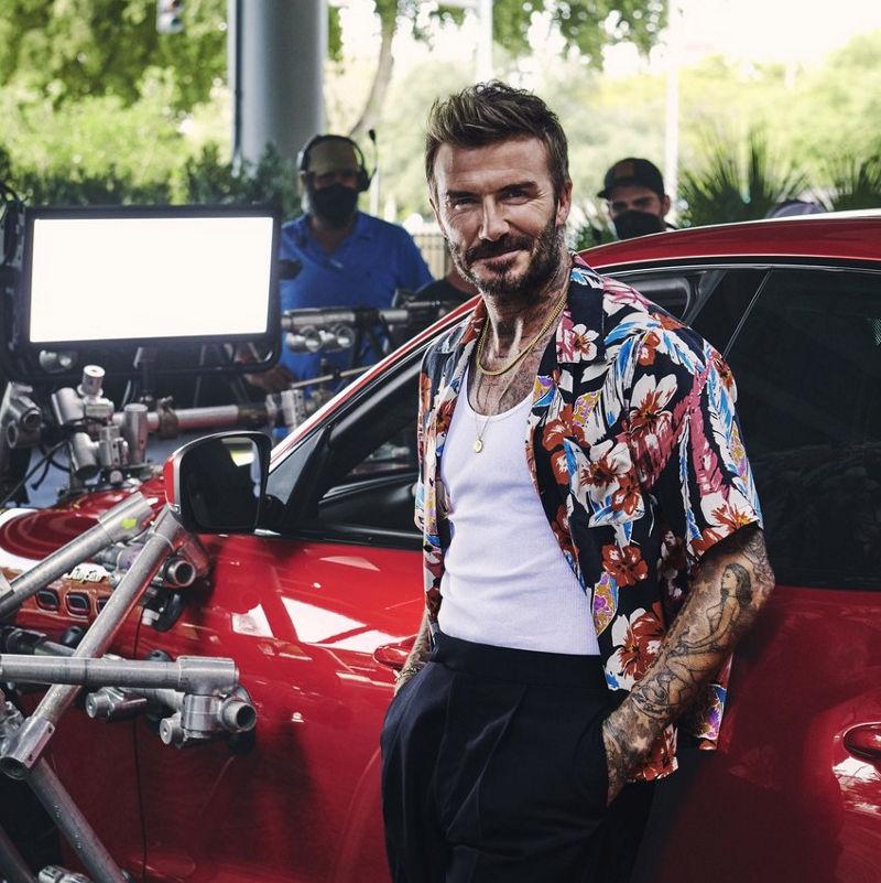 Maserati und David Beckham bei den Dreharbeiten - Levante Trofeo im Hintergrund