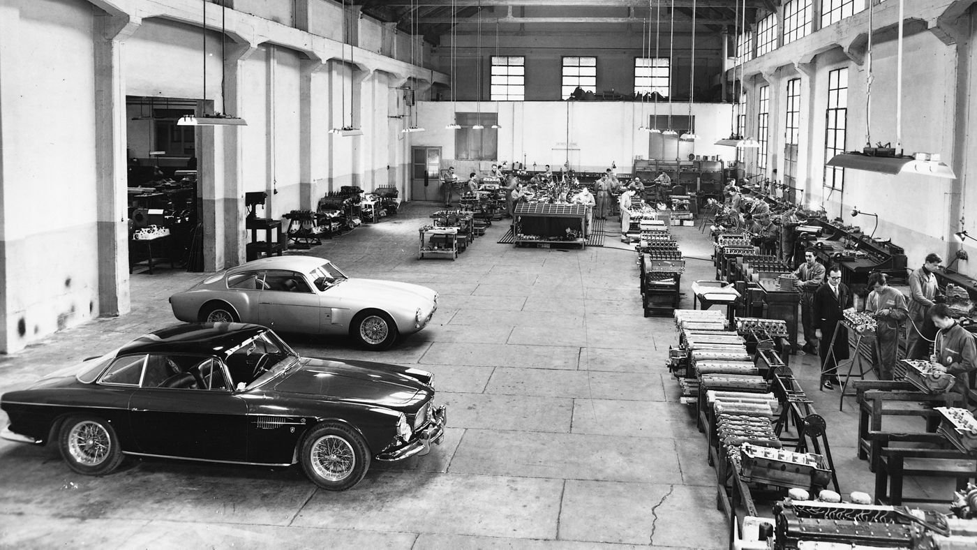 A historical picture of Maserati Factory