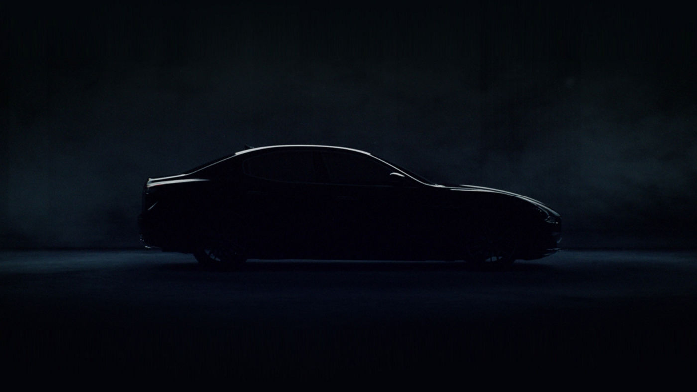 Maserati Ghibli dark silhouette, right side view