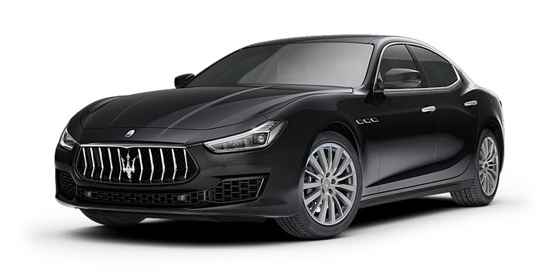 Black Maserati Ghibli - front and side view