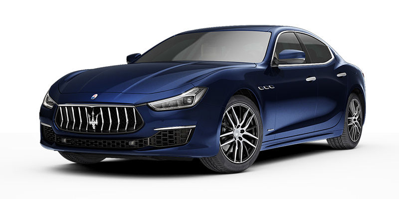 Blue Maserati Ghibli - left side view