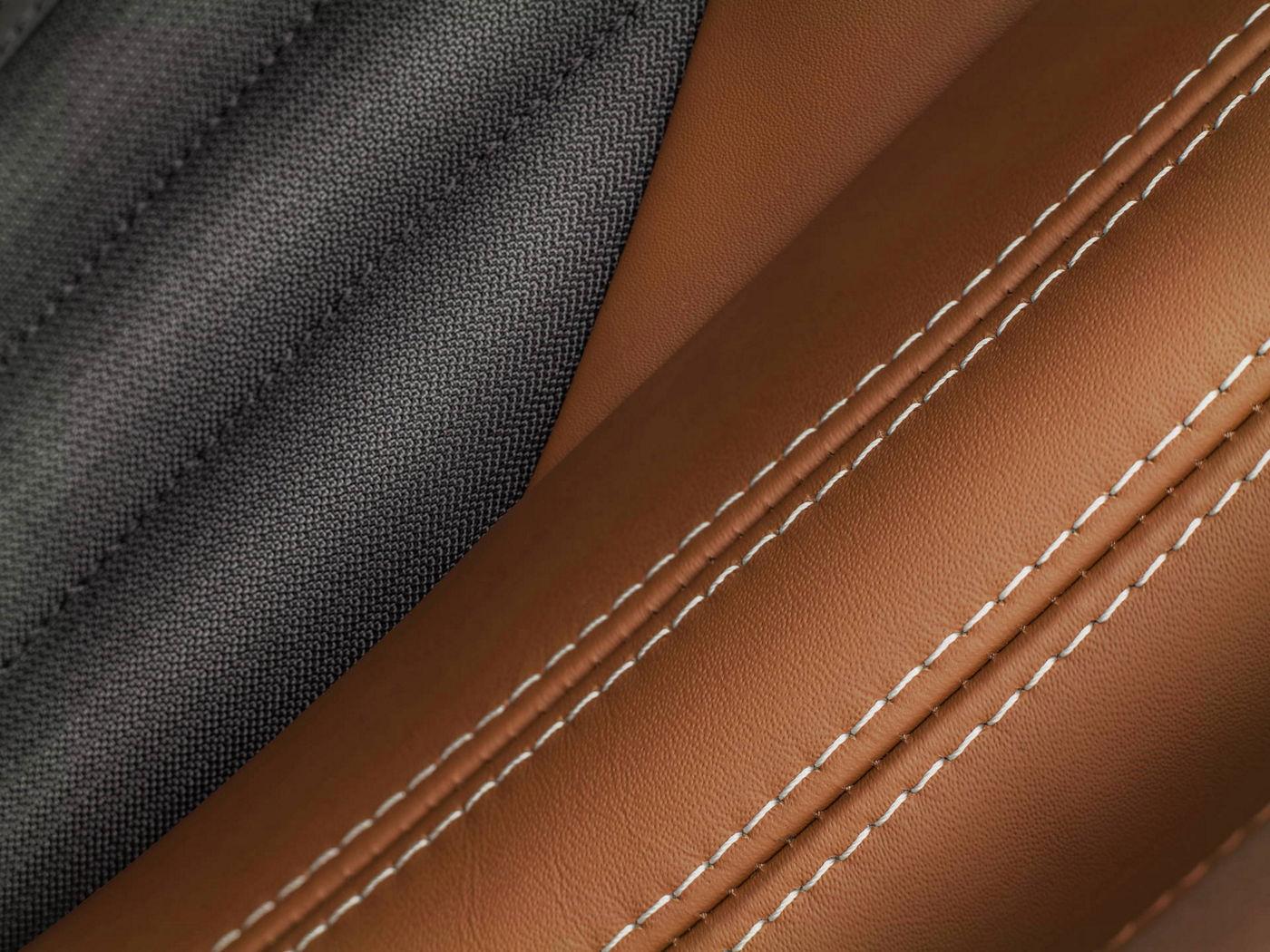 Maserati fabric, leather and stitching interior details by Ermenegildo Zegna