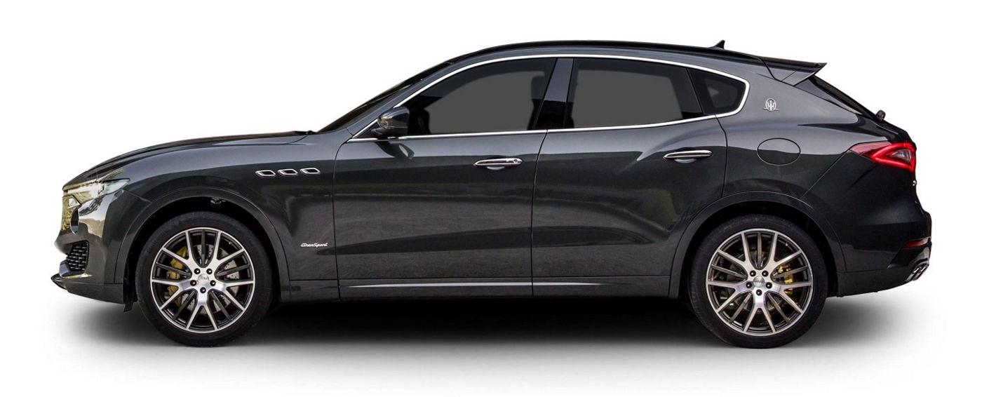 Dark grey Maserati Levante, left side view