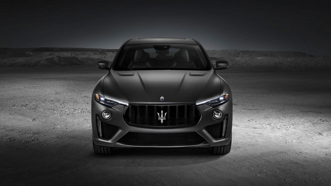 Front view of a gray Maserati Levante Trofeo SUV with a powerful new V8 engine