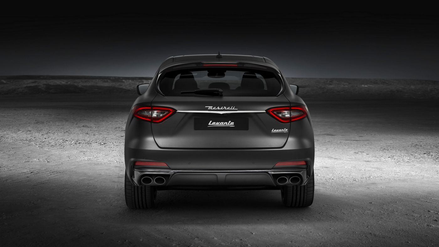 Rear view of a gray Maserati Levante Trofeo SUV with a powerful new V8 engine
