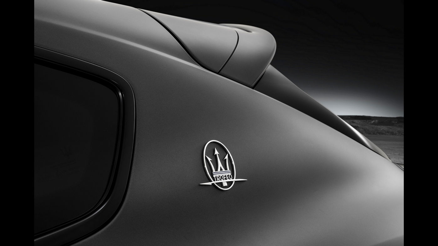 Focusing on the exclusive Logo of Maserati Levante Trofeo SUV