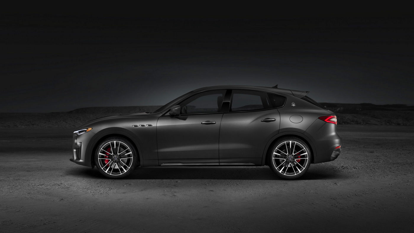 Side view of a gray Maserati Levante Trofeo SUV with a powerful new V8 engine