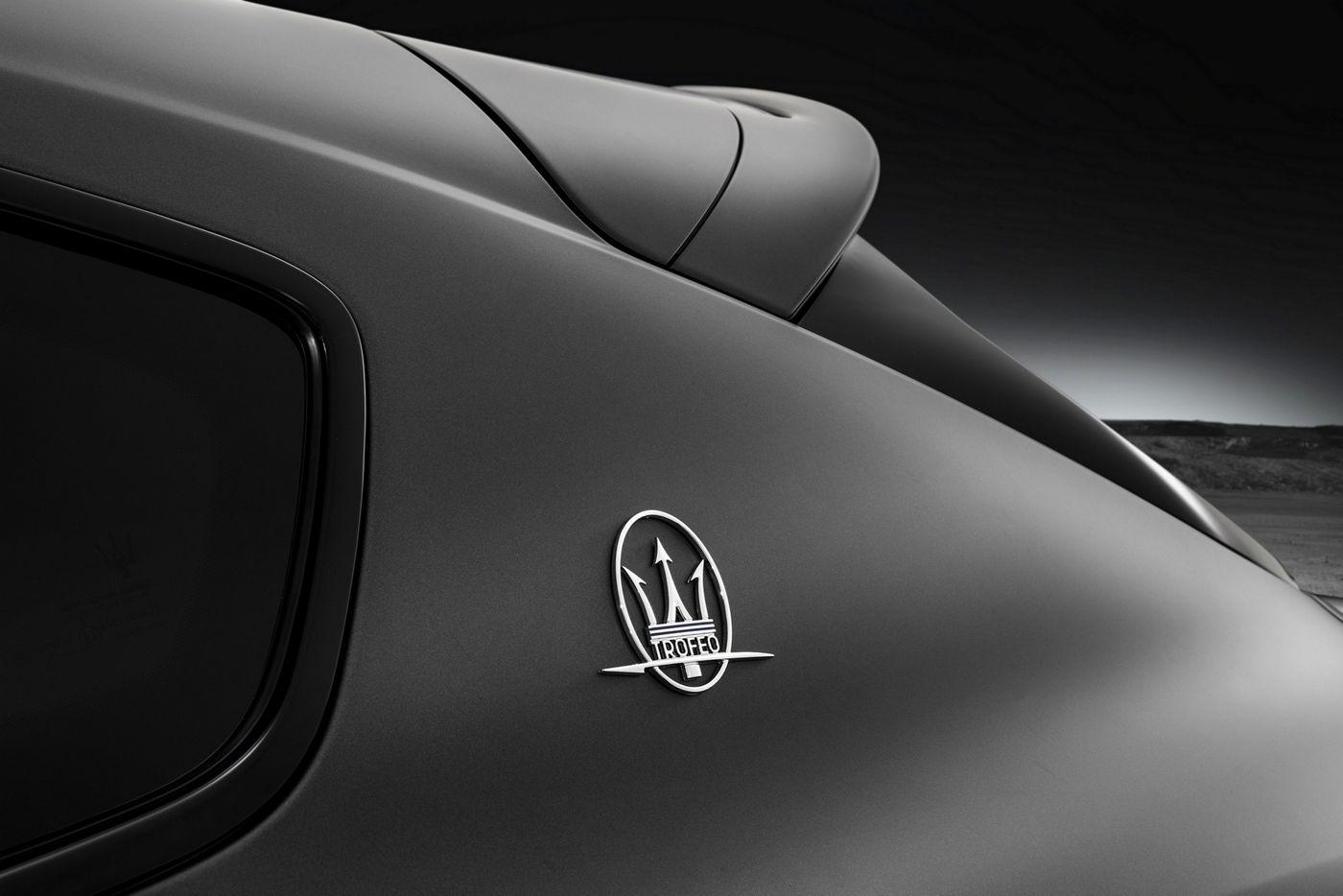 Focusing on the exclusive Maserati Trofeo Logo on Maserati Levante Trofeo body