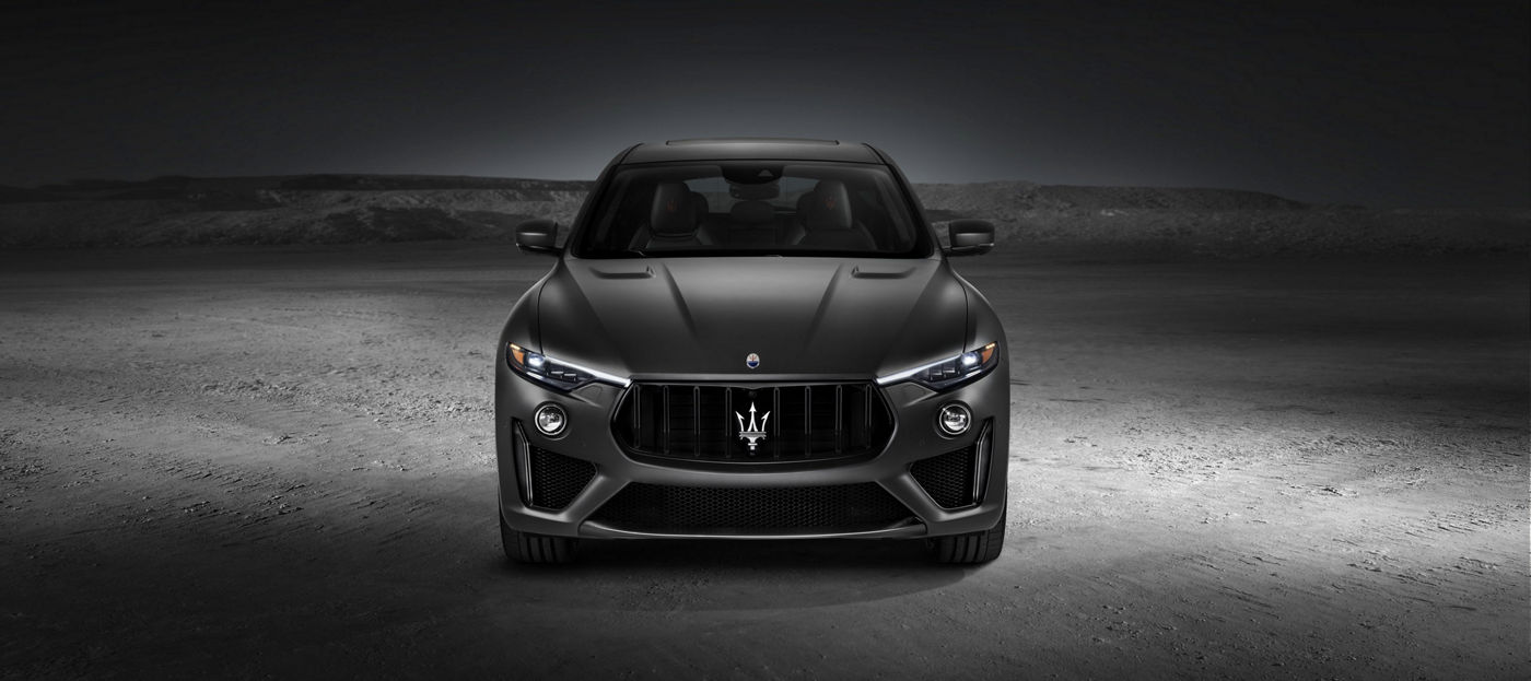 Front view of the new Maserati SUV: Levante Trofeo V8