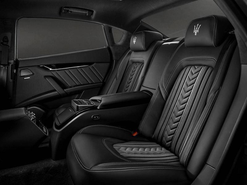 Maserati Quattroporte GranLusso - dettagli sedili posteriori, interni Ermenegildo Zegna silk/Pelle Naturale Nero