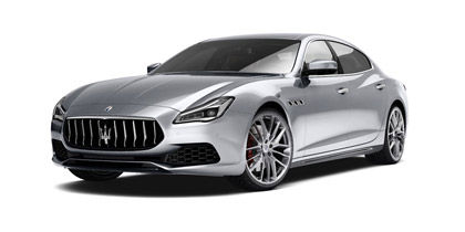 Maserati Quattroporte: the luxury saloon in grey version - front and side view