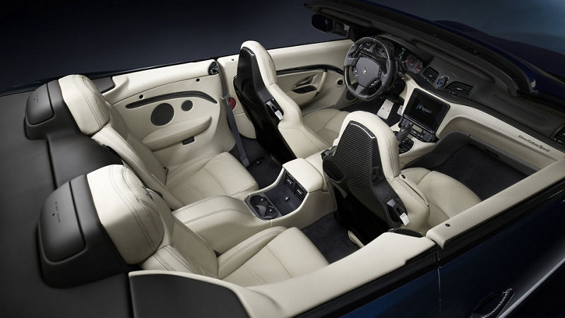 Maserati GranCabrio view from above, interiors and seats