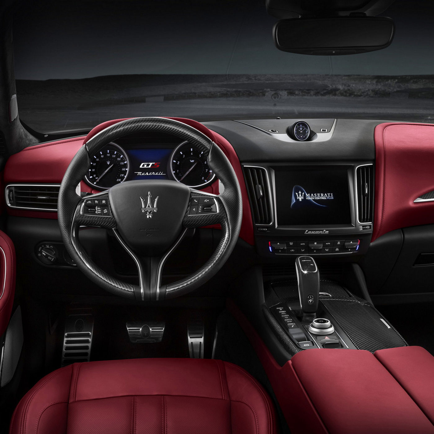 Levante GTS black and red leather interior