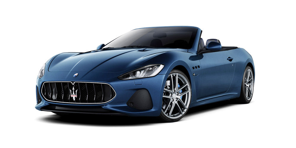 Blue GranCabrio, front and side view - the Maserati two door convertible