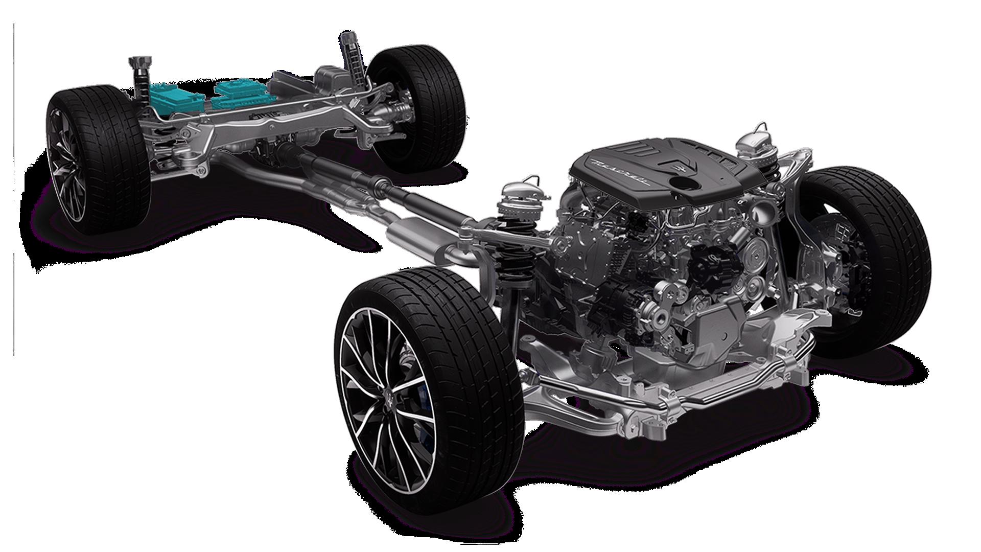 Maserati Ghibli Hybrid  - Weight distribution: DC/DC Converter and 48V Engine