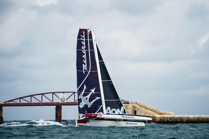 Maserati Multi 70 sailing the coast for the 39th Rolex Middle Sea Race