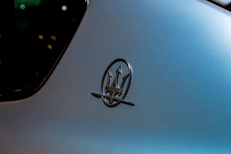 Maserati Levante GTS One of One - detail - denim color with Maserati logo