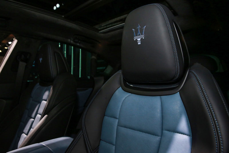Maserati Levante GTS One of One - interior detail - headrests with stitched Maserati logos
