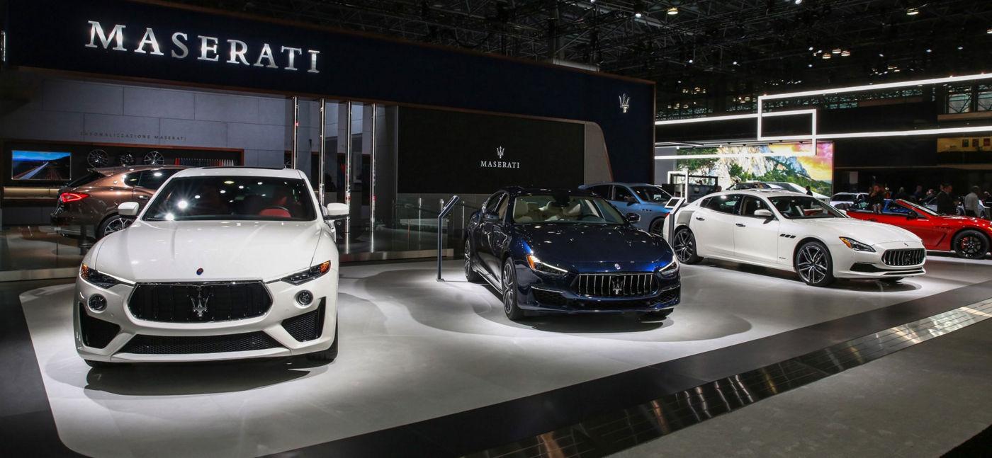 Maserati - front view - 2019 line-up with Levante, Ghibli, Quattroporte and GranTurismo Convertible