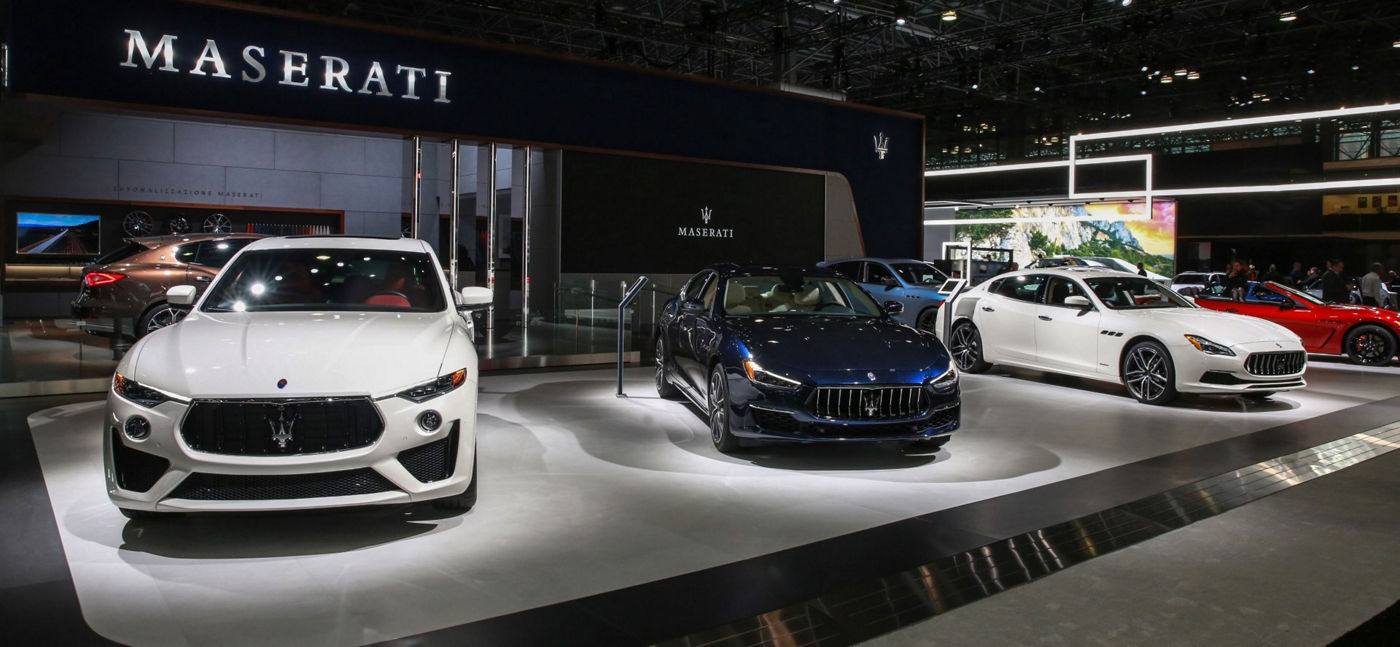 Maserati - front view - 2019 line-up with Levante, Ghibli, Quattroporte and GT Convertible