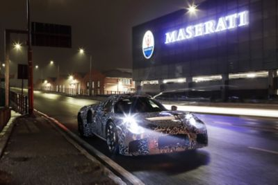 """Camouflaged new Maserati powertrain, first """"mule"""" drive"""