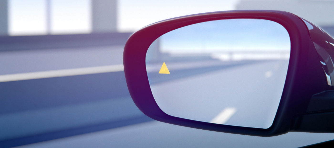 Active Blind Spot Assist - Maserati warning light in the exterior door mirror