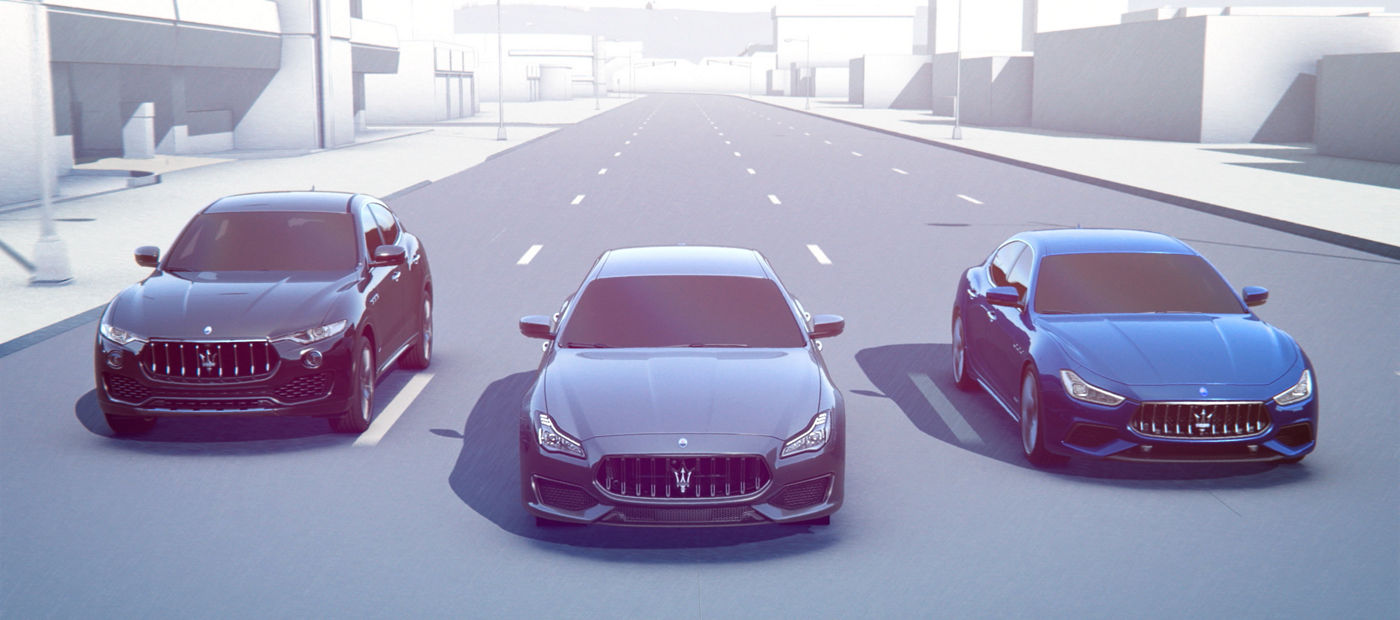 Traffic Sign Recognition - Maserati Levante, Ghibli and Quattroporte front view on the road