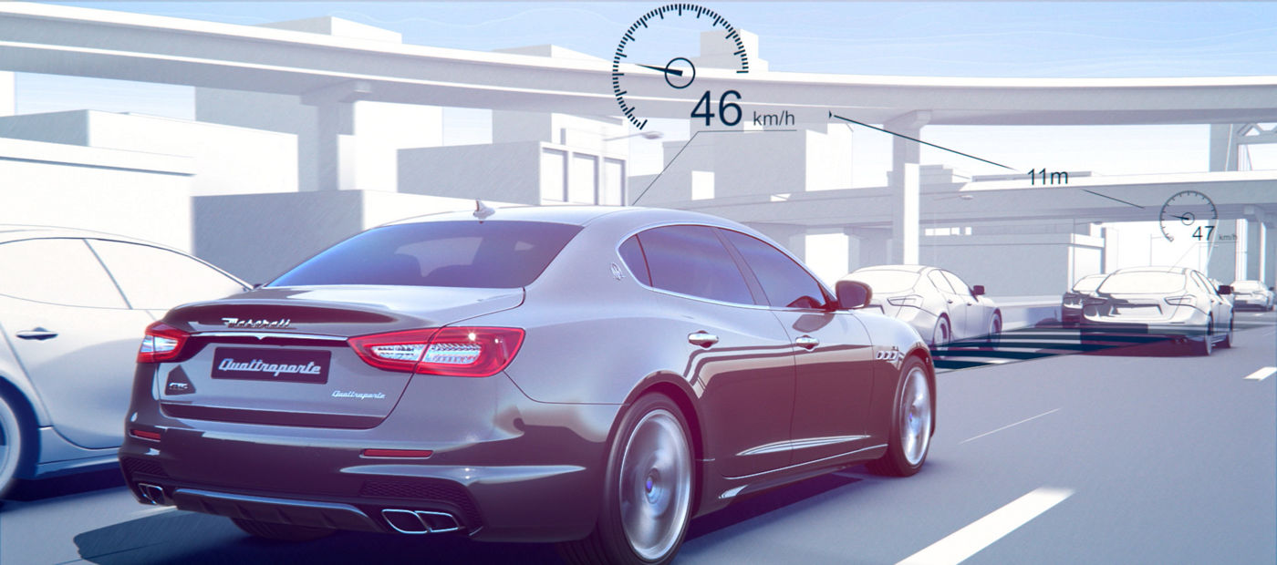 Adaptive Cruise Control - Maserati back view - maintain preset speed and distance