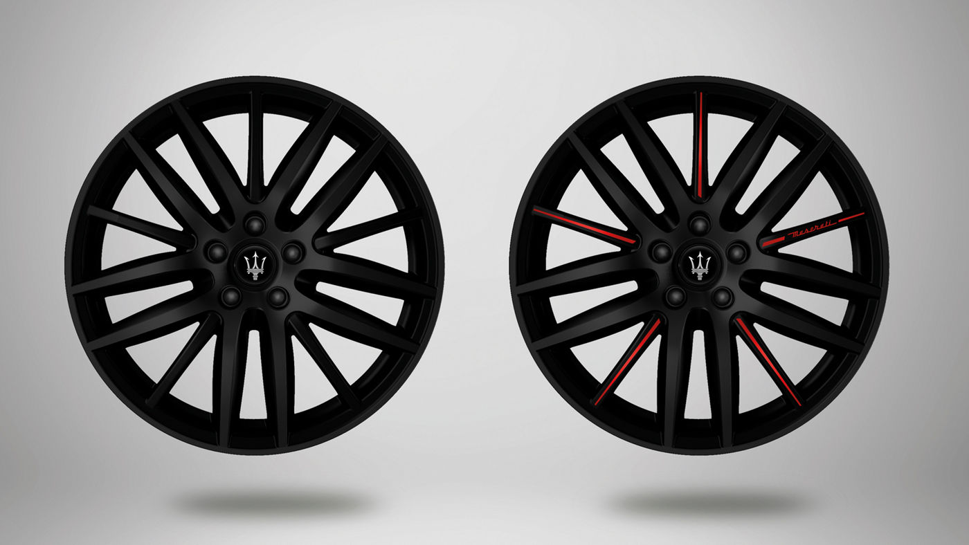 Maserati Ghibli rims - Proteo, matt black or black and red rim