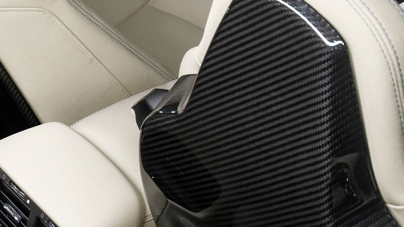 White Maserati leather seat, detail